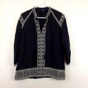 Madewell Boho Tunic Top  Black White Embroidered